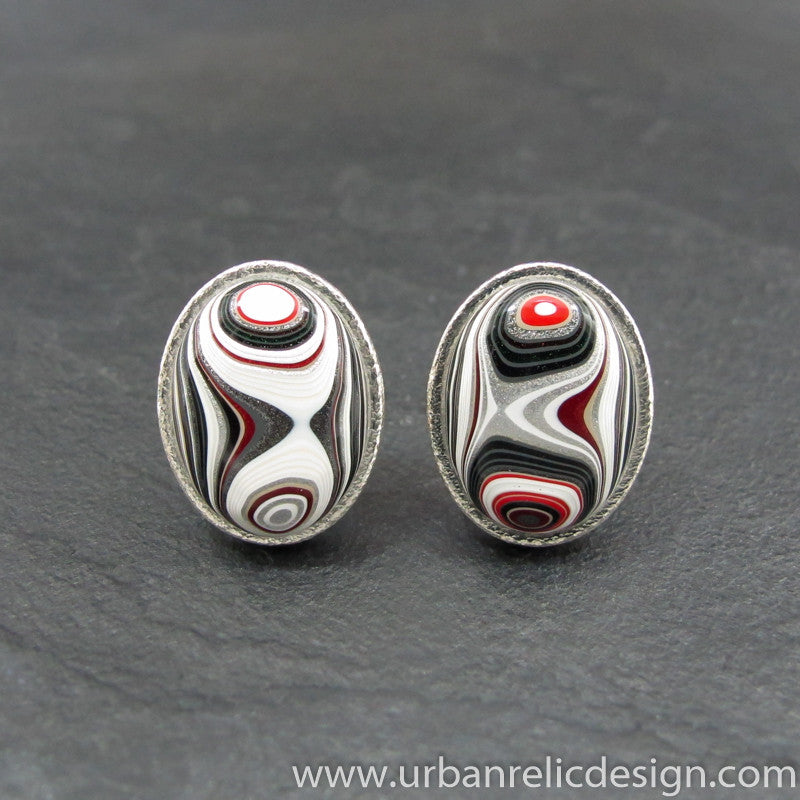 Sterling Silver and Motor Agate Fordite Oval Cufflinks #1994