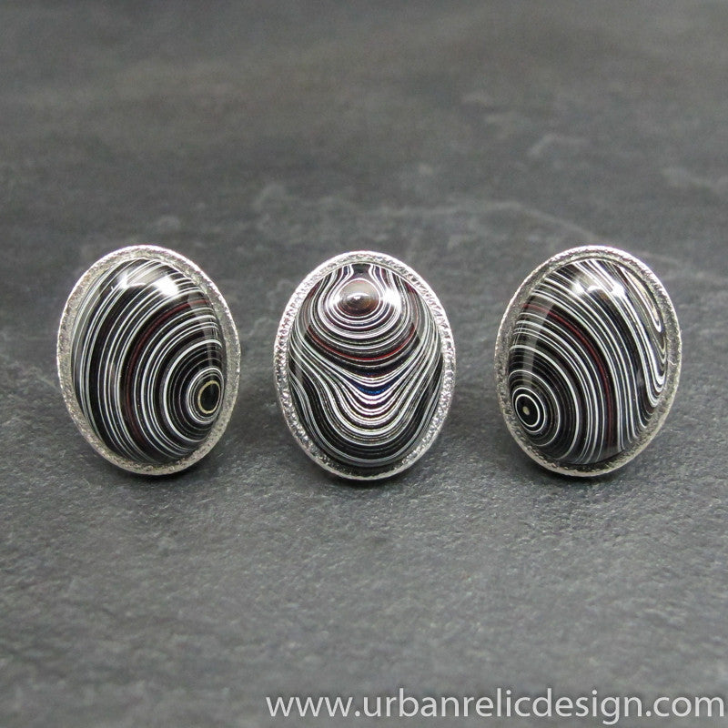 Sterling Silver and Motor Agate Fordite Oval Cufflinks and Tie Tack Set #1823
