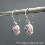 Sterling Silver and Motor Agate Fordite Reversible Earrings #1776