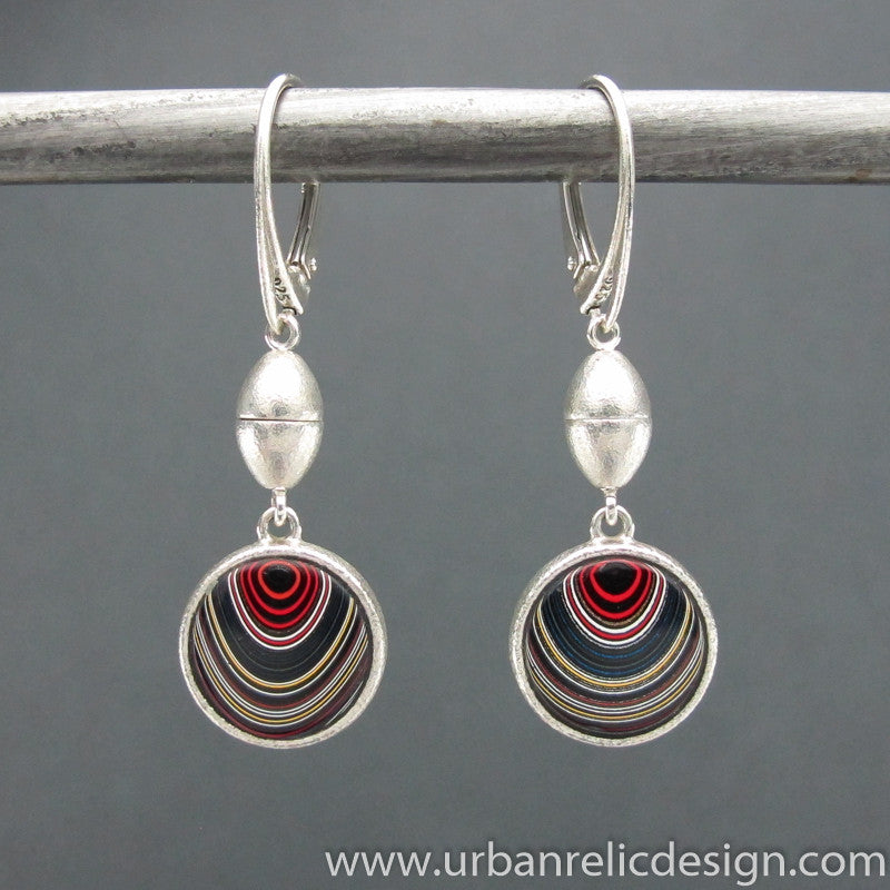 Sterling Silver and Motor Agate Fordite Reversible Earrings #1896