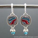 Sterling Silver and Motor Agate Fordite Earrings #1949