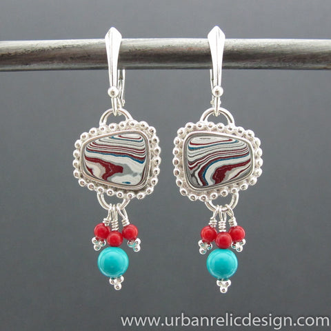 Sterling Silver and Motor Agate Fordite Earrings #1950