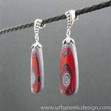 Sterling Silver and Motor Agate Fordite Long Bead Earrings #1960