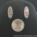 Sterling Silver and Motor Agate Fordite Post Earrings #1969