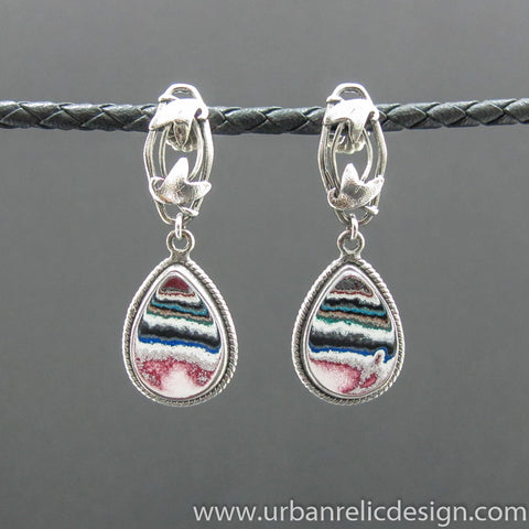 Sterling Silver and Motor Agate Fordite Post Earrings #2007