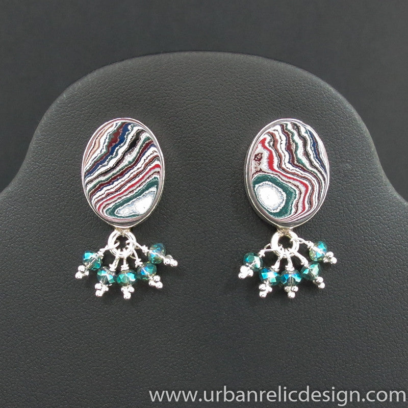 Sterling Silver and Motor Agate Fordite Earrings #2012