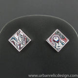 Sterling Silver and Motor Agate Fordite Post Earrings #2013