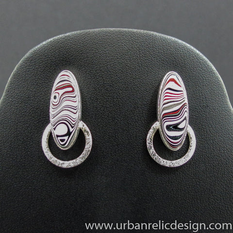 Sterling Silver and Motor Agate Fordite Post Earrings #2044
