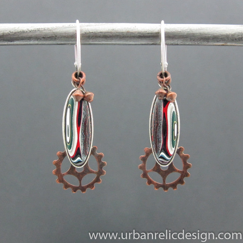 Sterling Silver, Copper and Motor Agate Fordite Earrings #2045