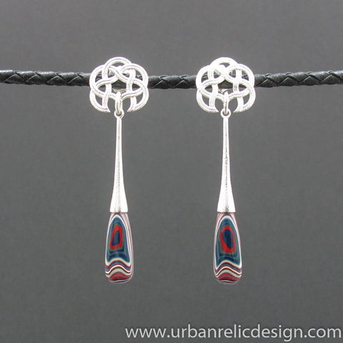Sterling Silver and Motor Agate Fordite Long Bead Earrings #2087