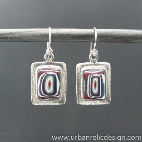 Sterling Silver and Motor Agate Fordite Earrings #2107