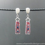 Stainless Steel and Motor Agate Fordite Earrings #2157