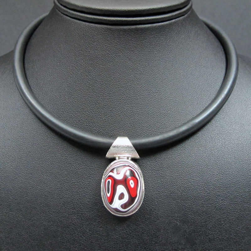 Sterling Silver and Motor Agate Fordite Necklace #1650