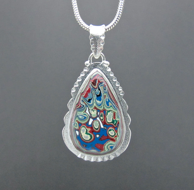 Sterling Silver and Motor Agate Fordite Necklace #1673
