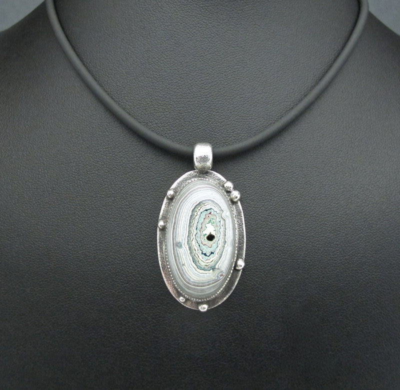 Sterling Silver and Motor Agate Fordite Necklace #1680
