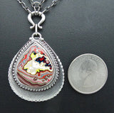 Sterling Silver and Motor Agate Fordite Necklace #1681