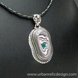 Sterling Silver and Motor Agate Fordite Necklace #1763