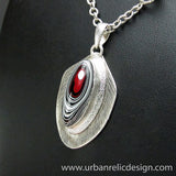 Sterling Silver and Motor Agate Fordite Necklace #1764