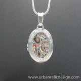 Sterling Silver and Motor Agate Fordite Necklace #1767
