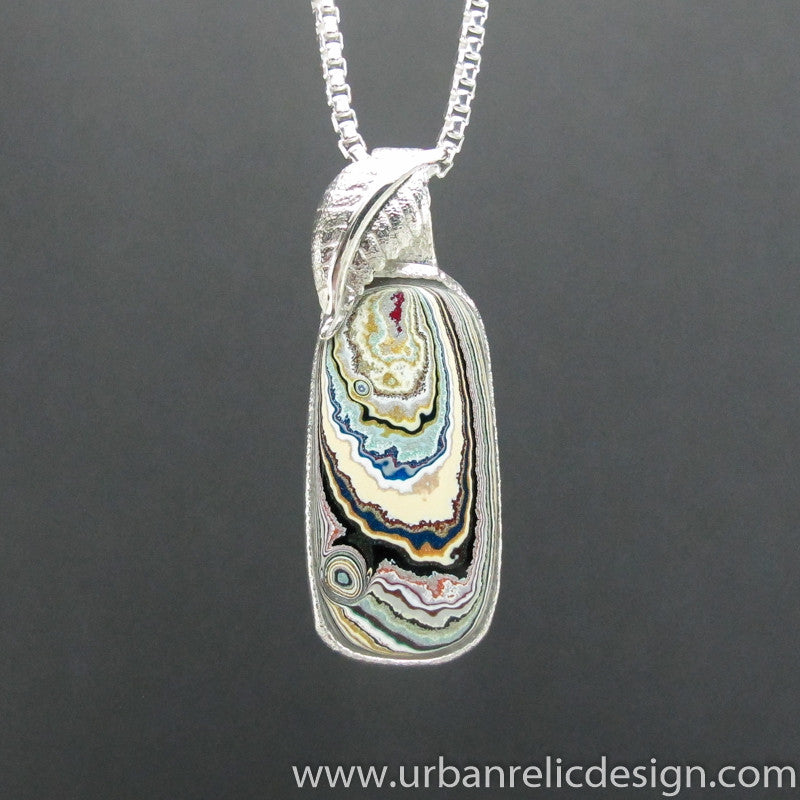 Sterling Silver and Motor Agate Fordite Necklace #1821