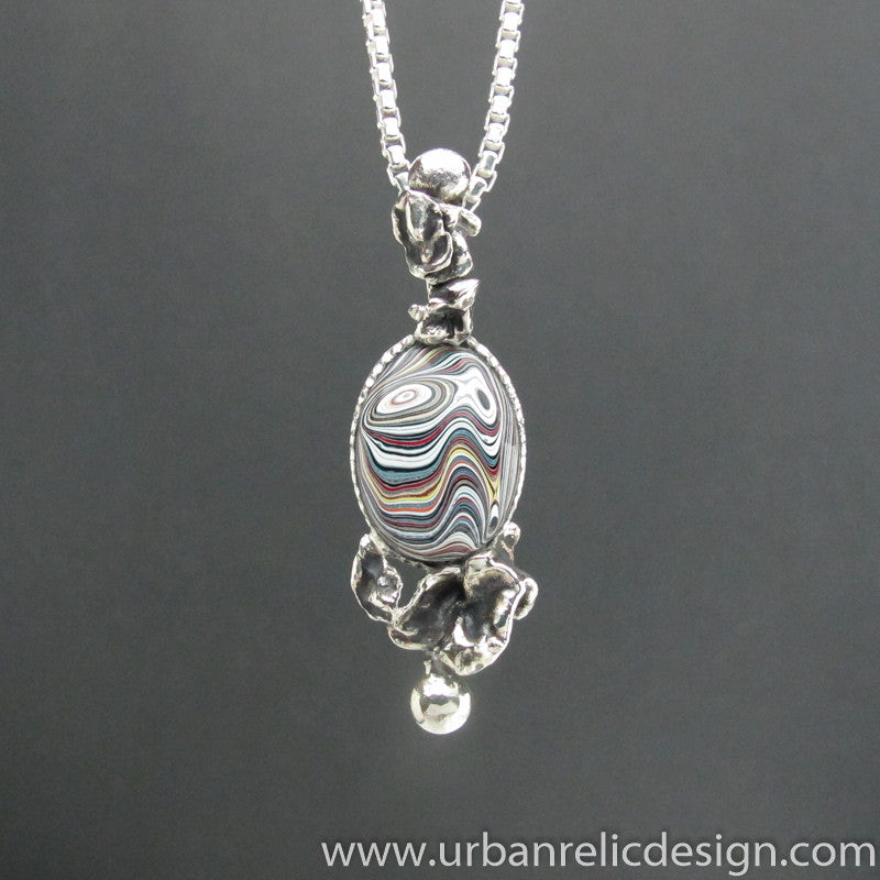 Sterling Silver and Motor Agate Fordite Necklace #1843