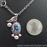 Sterling Silver and Motor Agate Fordite Necklace #1948