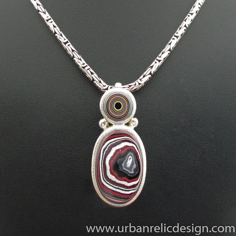 XL Sterling Silver and Motor Agate Fordite Enhancer Slide Necklace #1965