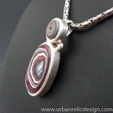 Sterling Silver and Motor Agate Fordite Necklace #1965