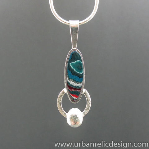 Sterling Silver and Motor Agate Fordite Long Oval Necklace #1982