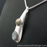 Sterling Silver and Motor Agate Fordite Necklace #2011
