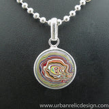 Sterling Silver and Motor Agate Fordite Necklace #2048