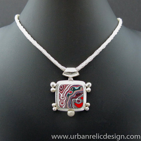 Sterling Silver and Motor Agate Fordite Necklace #2142
