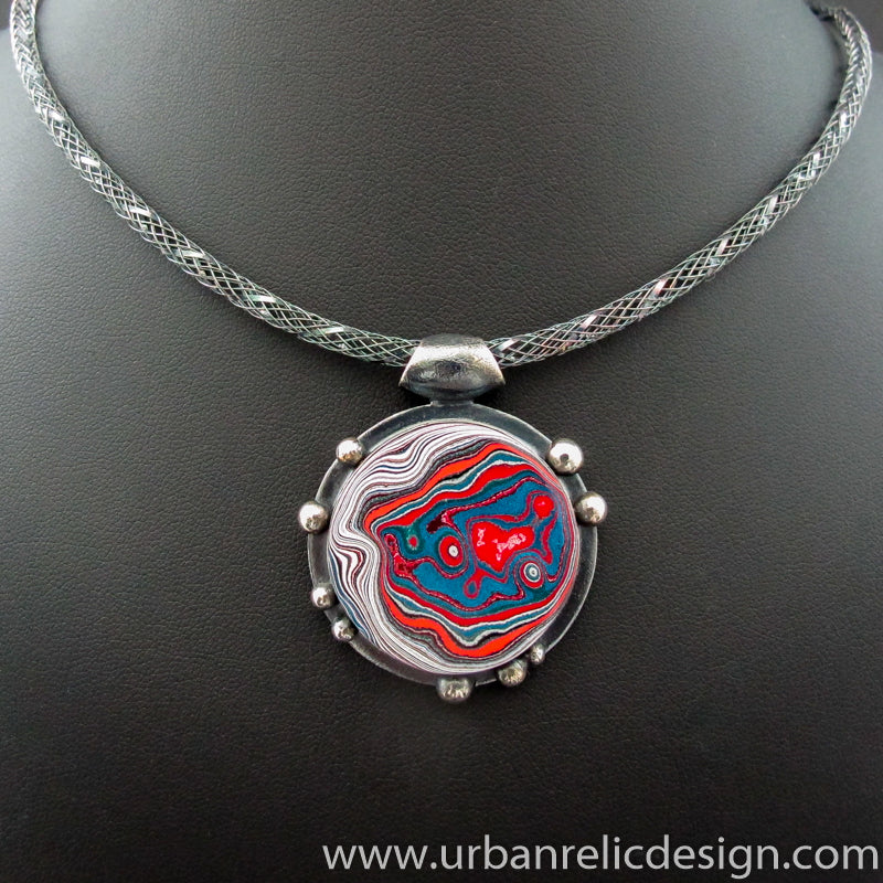 Sterling Silver and Motor Agate Fordite Necklace #2145