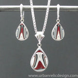 Sterling and Motor Agate Fordite Necklace and Earring Set #2090