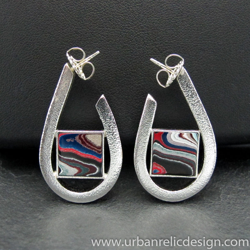 Sterling Silver and Motor Agate Fordite Post Earrings #1831