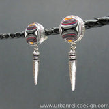 Sterling Silver and Motor Agate Fordite Post Earrings #1898