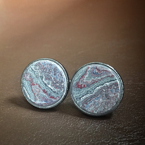 Sterling Silver and Motor Agate Fordite Round Cufflinks #2181