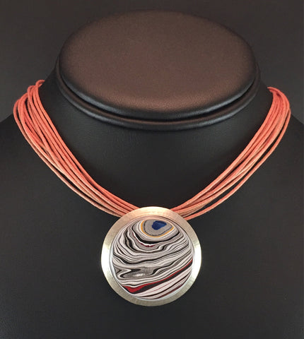 Sterling Silver and Motor Agate Fordite Choker Necklace #2200