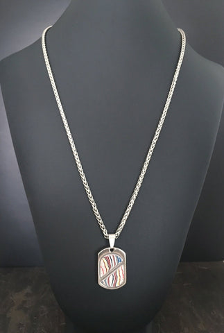Stainless Steel and Motor Agate Fordite Necklace #2195