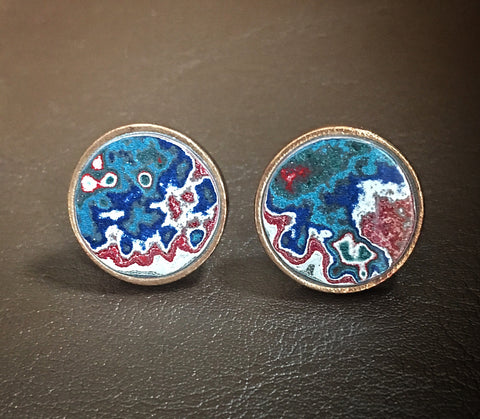 Bronze and Motor Agate Fordite Round Cufflinks #2185