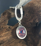 Sterling Silver and Motor Agate Fordite Key Ring #2199