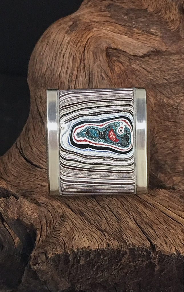 Stainless Steel and Motor Agate Fordite Biggie Ring #2197