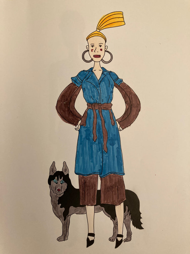 customer's coloring of strut with pup fashion coloring book page