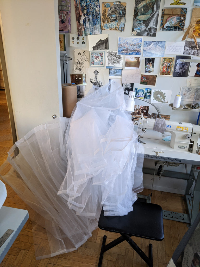 sewing layers of tulle