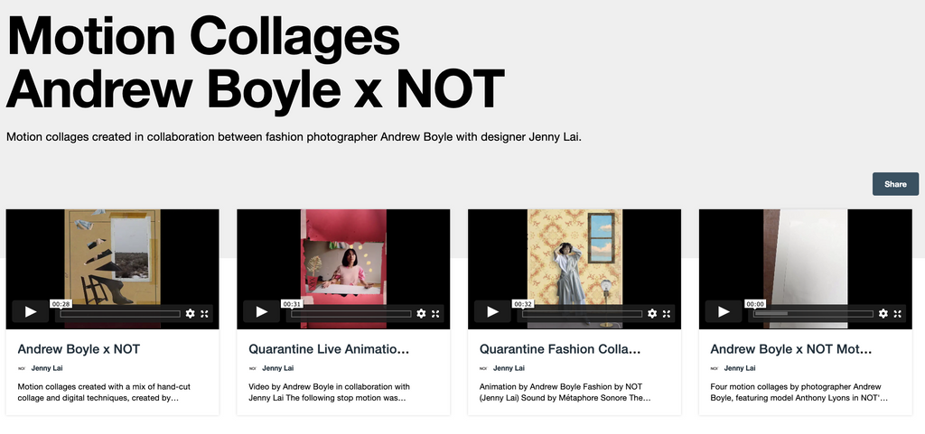 collection of motion collages by andrew boyle for NOT