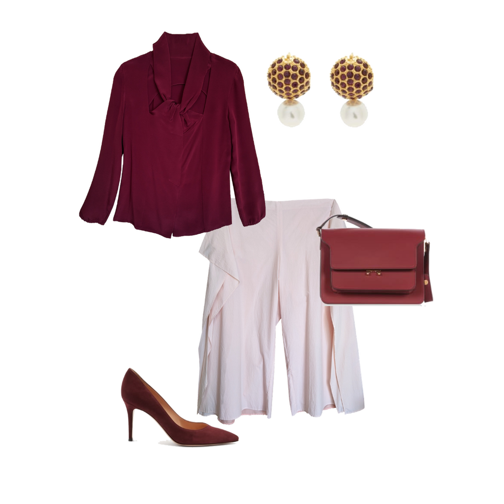 wine Red and pink monochromatic outfit by NOT by Jenny Lai