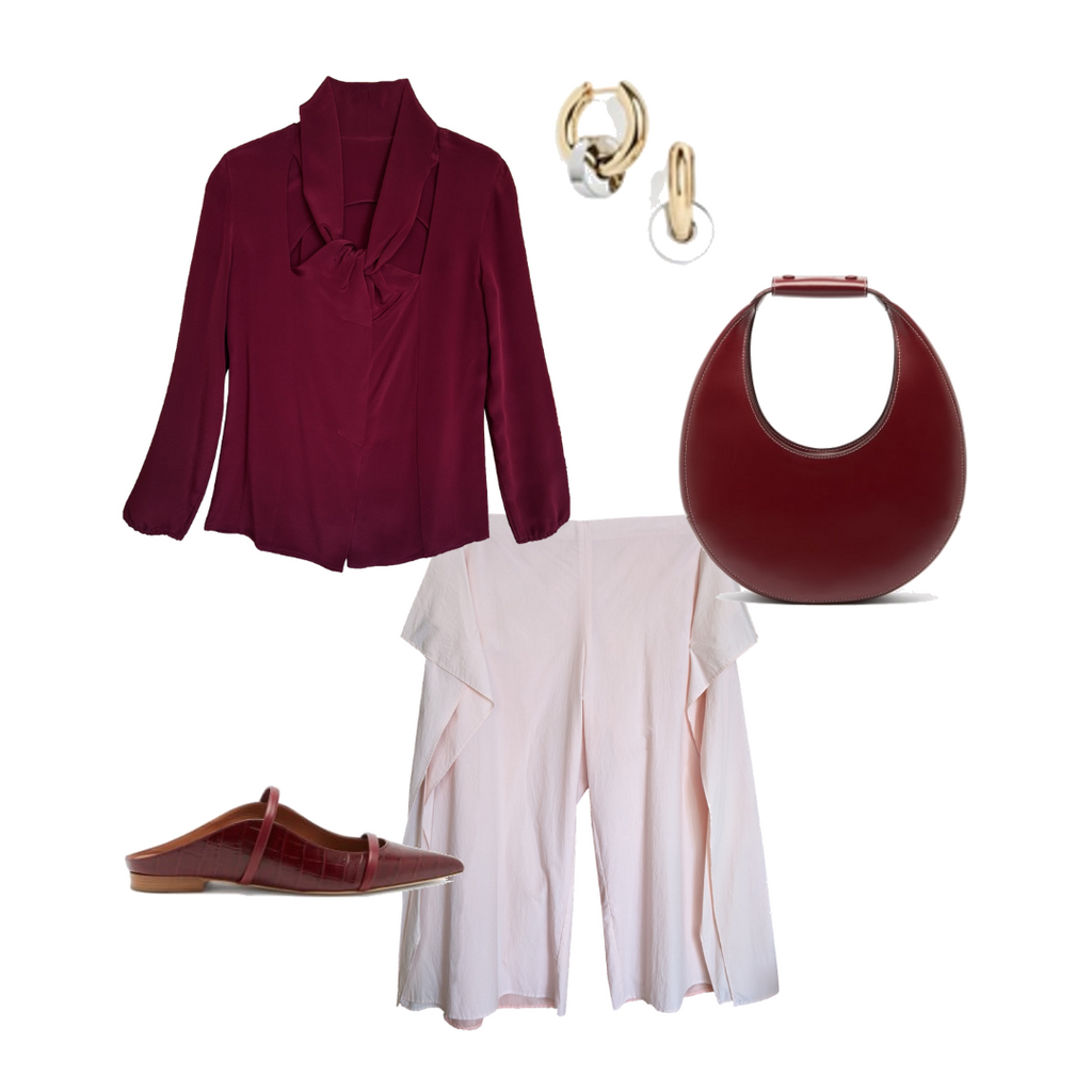 wine red and pink monochrome outfit design by NOT by Jenny Lai