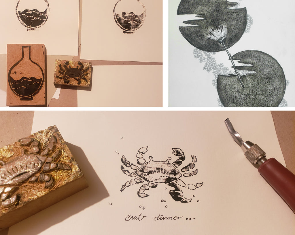 Grace's artworks with printing and stamping