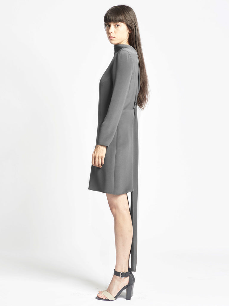 Back Loop Dress Charcoal