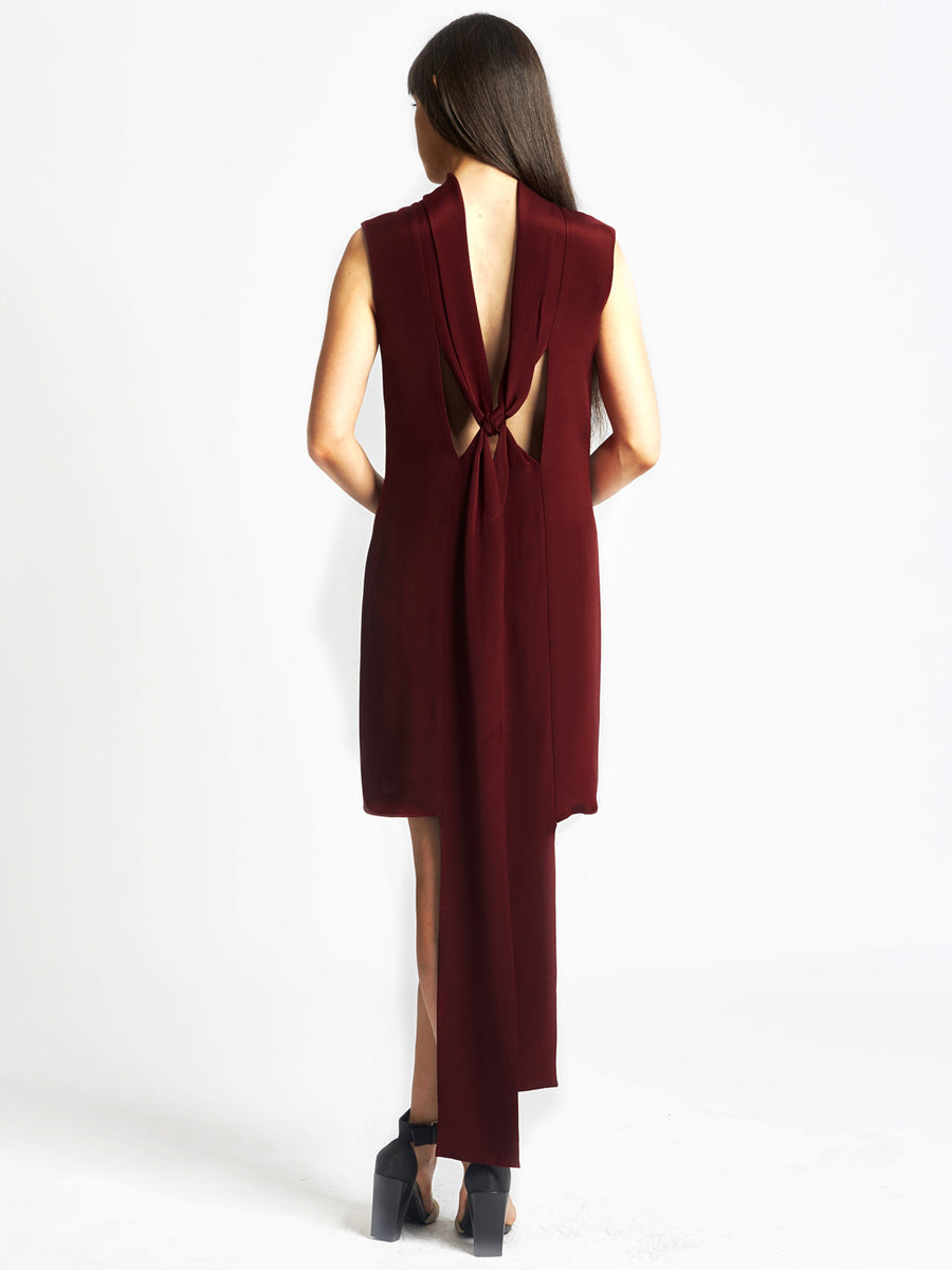 wine red silk cocktail dress with back loop